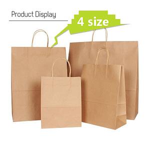 Natural kraft paper bag with handle