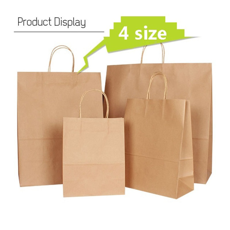 Natural kraft paper bag with handle Wedding Party Favor Paper Gift Bags