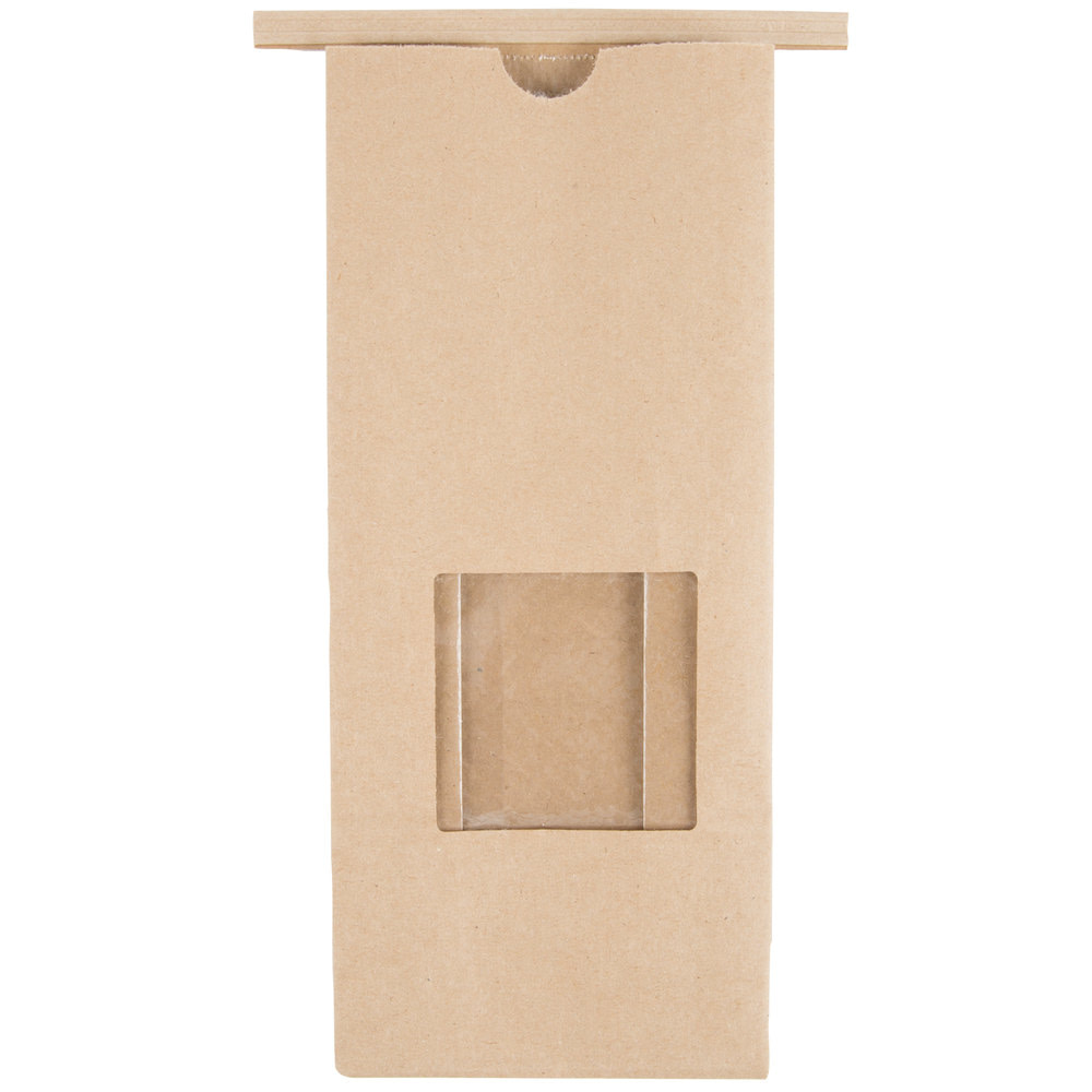 brown kraft tin tie coffee bag with window