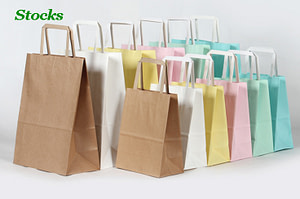 Luxury Stocked Embossing Paper Bags Gift Packing With Flat Handle