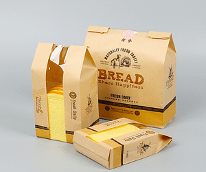 kraft paper bread bag with window