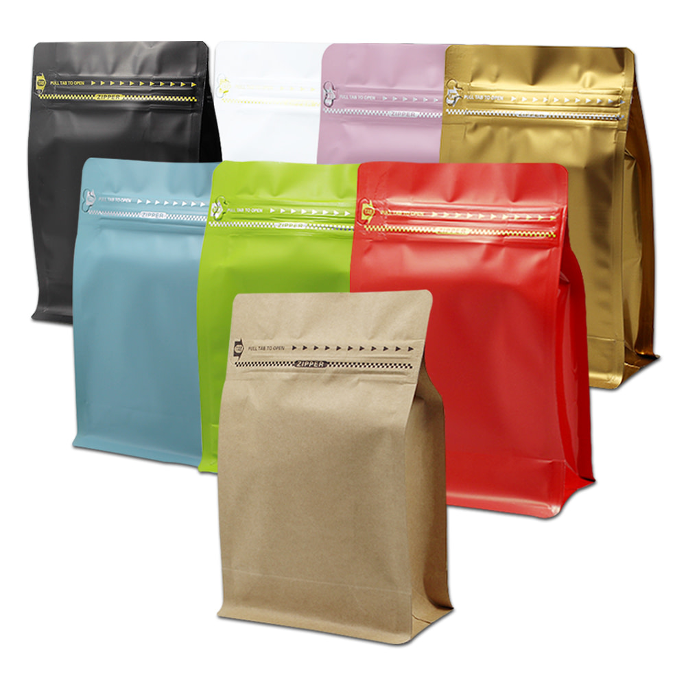 Stand Up Zipper Coffee Bags With Flat Bottom