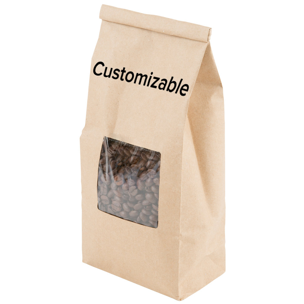 brown kraft custom tin tie bags with window