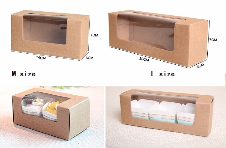 brown paper gift box with clear window